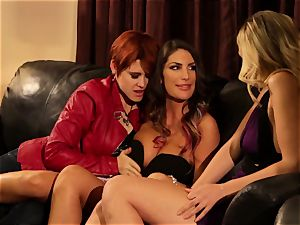 August Ames and Lily Cade wire on couch hump