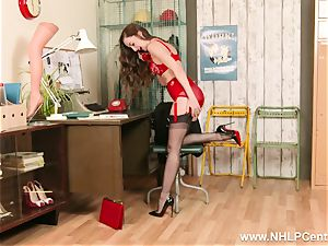 dark-haired on phone in retro lingerie nylon high high-heeled shoes