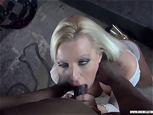 messy blondie stunner bj's funbag masturbates tears up thick ebony salami
