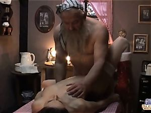 white hair grandfather romps nubile gf showcases in fantasy