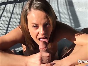 Rahyndee James brunette babe dt arched Over Balcony