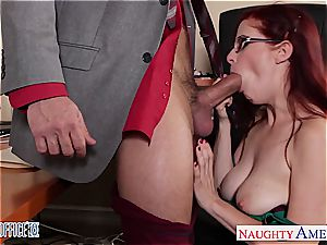 ginger-haired sweetheart in glasses Penny Pax plow in the office