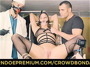 CROWD restrain bondage submissive Amirah Adara very first time bondage & discipline