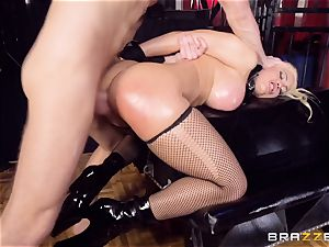 caged greased up stunner Luna star hammered nuts deep in the bum
