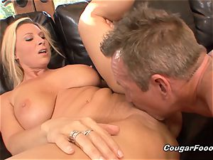 buxomy cougar towheaded gets doggystyled and creampied