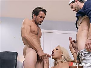 huge-chested Bridgette B nailed by two insane draped boys