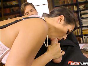 Headmistress Eva Lovia plays with her horny schoolgirl
