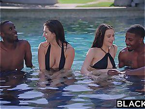 interracial gang orgy with Leah Gotti and Lana Rhoades