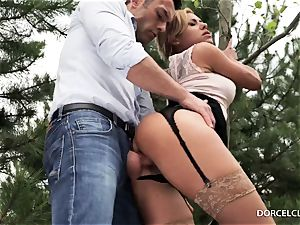dame college girls watch as their tutor gets bum-fucked in the forest