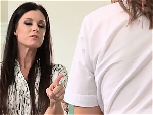 Aspen Ora and India Summer share a rock-hard pulsating trouser snake