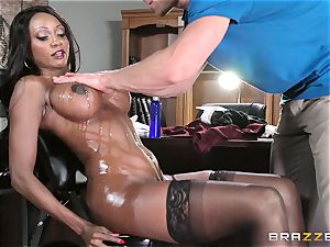 ebony chief Diamond Jackson sensuous massage and blessed completing