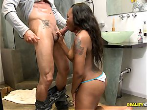 sizzling dark-hued honey Stacy fluid inserted with milky man-meat