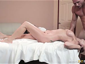 Monique Alexander packed nutsack deep in her taut muffhole