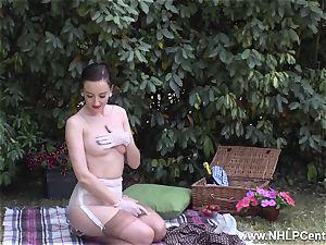 stunner picnic demonstrating rock-hard boobies trim snatch retro nylons