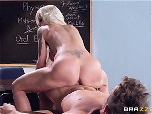 blonde teacher Nina Elle puts this schoolgirl off his stride