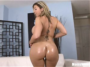 Oiled-Up light-haired cougar Sara Jay romping black man meat