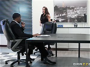 Abigail Mac slammed by a thick ebony salami