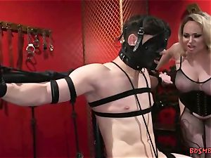 big-boobed towheaded domina Gives Her marionette a masturbate