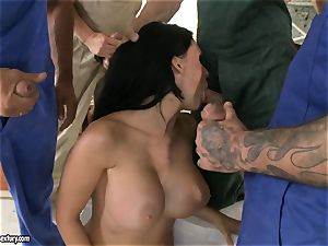 kinky lover Aletta Ocean takes one man meat at a time dipping hot in her mouth