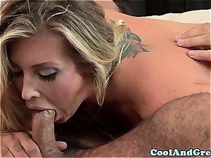 Smoking super-hot Samantha Saint sucks pipe deep