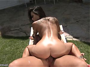 filthy banger Asa Akira likes the softcore act with her paramour outdoor