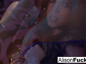 Alison posing naked in couch