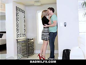 BadMILF - Jealous Stepmom 3some With Stepson And girlfriend
