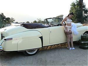 Lana Rhoades antique car cunny have fun