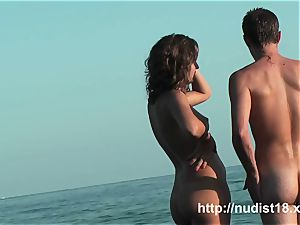 super-sexy girl spy at beach lovely backside nudist shots