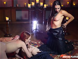 jizz drinking 3some with super-sexy Ella Hughes and fabulous babe Mea Melone