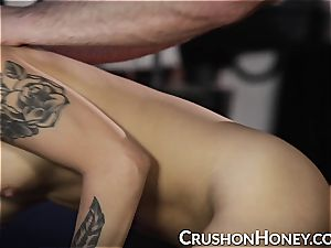 CrushGirls - petite stunner Gold eyes covered and torn up