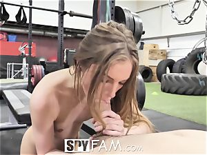 SPYFAM Stepsister penetrated at the gym by ample manstick