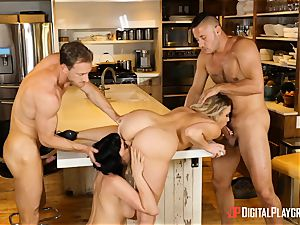 Mia Malkova and Olive Glass fuckbox pounded in the kitchen