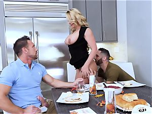Phoenix Marie gets a molten three way at the dinner table