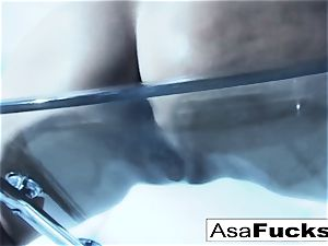 outstanding Asa Akira plays with her twat